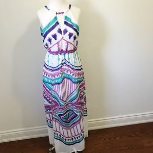 Sabo Skirt Dresses - Sabo Skirt Halter Aztec Tribal Maxi Dress w/ Slits